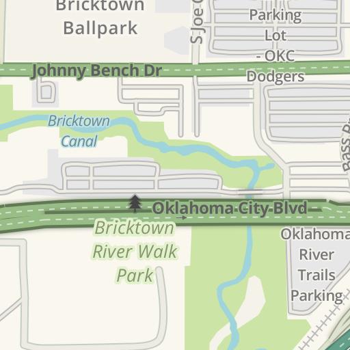 Waze Livemap - Driving Directions to Joe Carter Parking Lot - OKC ...